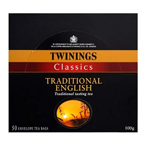 Twinings Classics Traditional English 50 Envelope Tea Bags 100g Case of 6