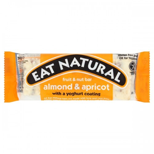 Eat Natural Fruit & Nut Bar Almond & Apricot with a Yoghurt Coating 50g pk12