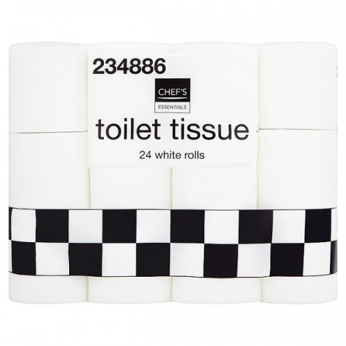 Chefs Essentials Toilet Tissue 24 White Rolls Pack 24