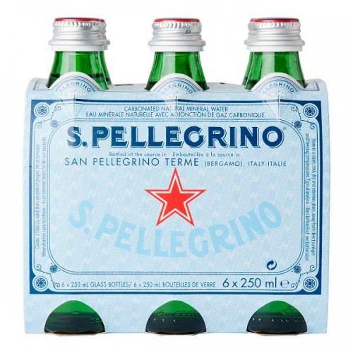 San Pellegrino Sparkling Natural Mineral Water 6 x 250ml (Glass) Case of 4 (24)