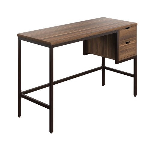 WFH Home Working Desk with 2 Drawers - Walnut / Black