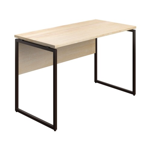 WFH Home Working Desk with Square Leg and Modesty - Oak / Dark Brown