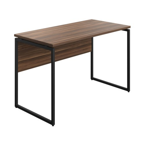 WFH Home Working Desk with Square Leg and Modesty - Walnut / Black Leg