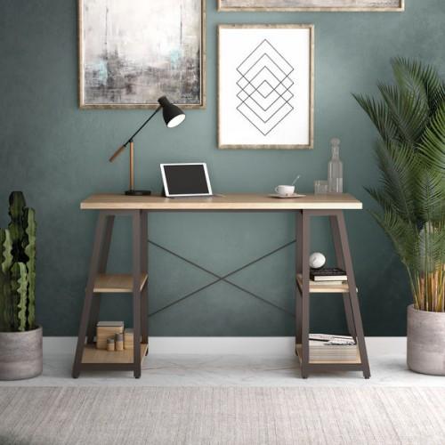WFH Computer desk with Angled Shelves Oak/Brown Leg