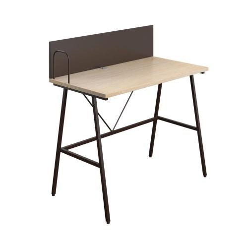 WFH Home Working A-Frame Desk with Backboard -  Oak / Dark Brown