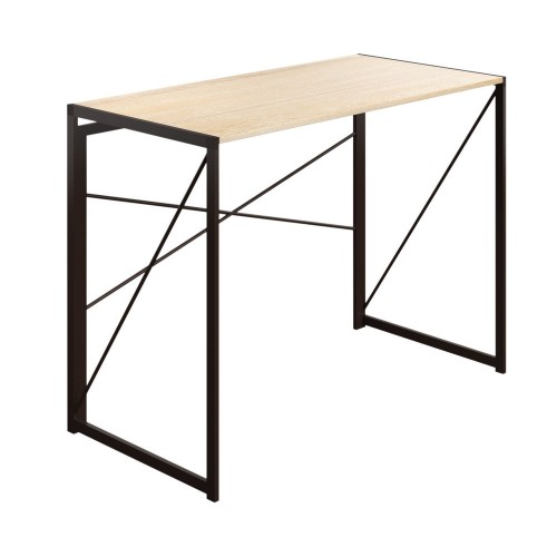 WFH Home Foldable Working Desk with Square Leg and Cross Supports - Oak / Dark Brown