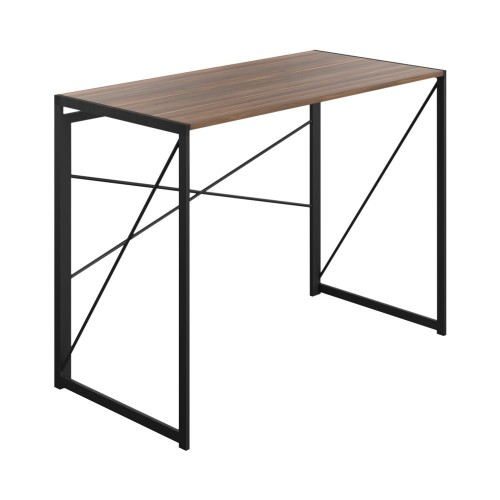 WFH Home Working Foldable Desk with Square Leg and Cross Supports - Dark Walnut / Black