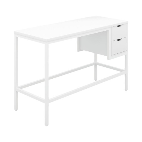 WFH Home Working Desk with 2 Drawers - White / White