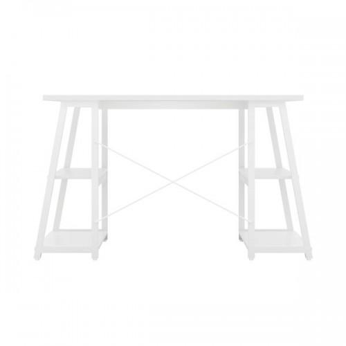 WFH Computer desk with Angled Shelves White / White Leg