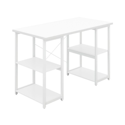 WFH Home Working Desk with Square Shelves - White