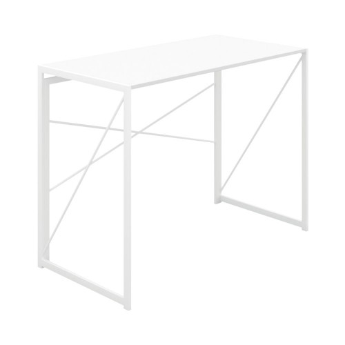 WFH Home Working Foldable Desk with Square Leg and Cross Supports - White/White