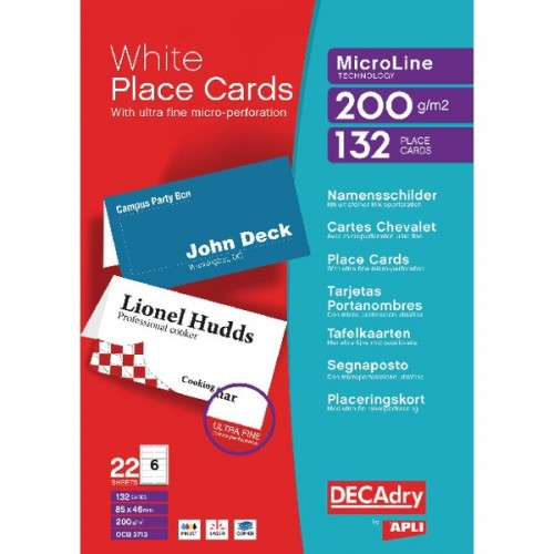 Decadry Perforated Place Card 85x46mm White Pk 132 DPOCB3713