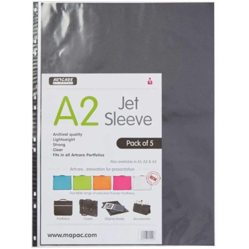 Mapac Artcare Jet sleeves for Portfolios A4 pack of 5