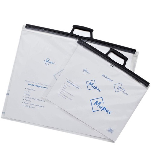 Mapac Project Bag A4 (11044003) H/Duty Clear Polythene + Clip Close Handles