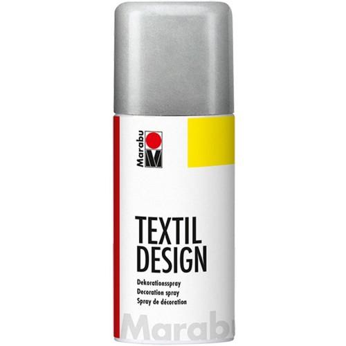 Marabu Textil Design Fabric Spraypaint Metallic Silver 150ml - Acrylic - Based