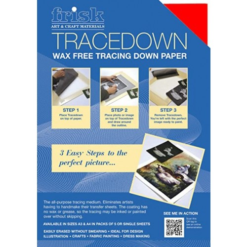 Frisk Tracedown A3 Red pack of 5 sheets