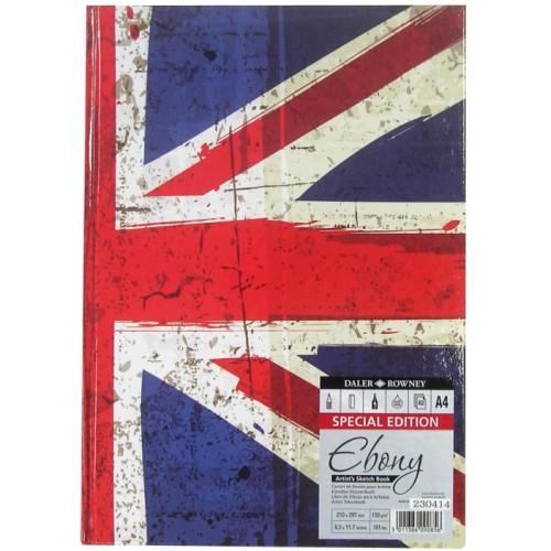 Daler Ebony Union Jack Hardback Sketchbook A4 Portrait (481380400) 150gsm  62s