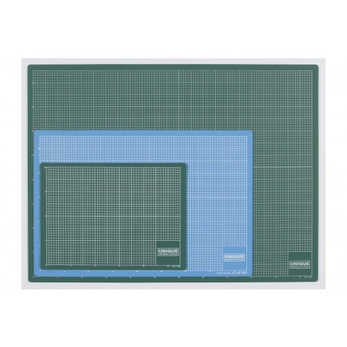 Unique Cutting Mat A4 - 320 x 220 x3mm Green & Blue  with grid both sides