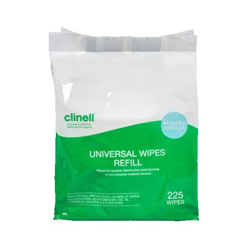 Clinell Universal 99.99% Effective Disinfectant/Sanitiser Refill Wipes (VJT192)