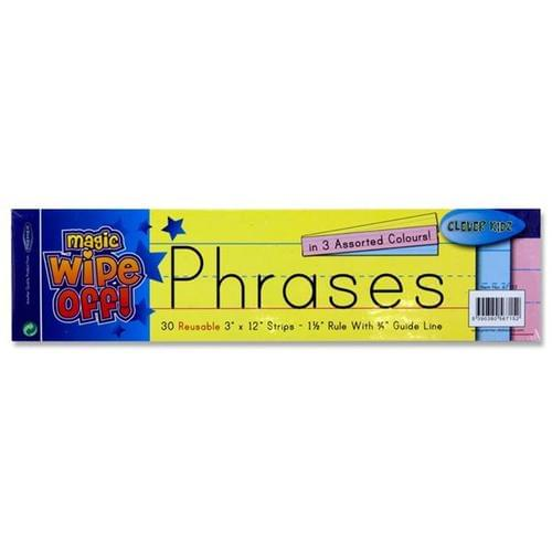 "Wipe-Off Reusable Phrase Strips 3""x12"" - Assorted Colours (pack of 30)"