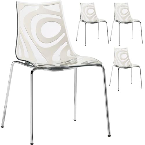 Wave Chrome Leg Stacking Chair Translucent & White (Set of 4 Chairs)