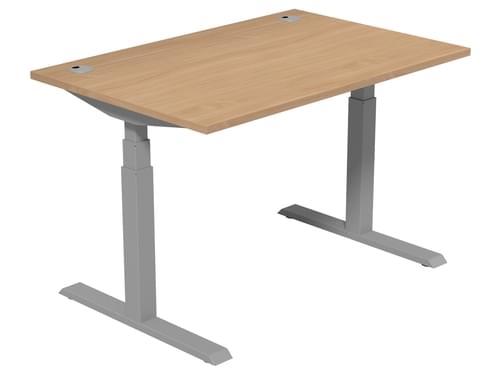 Electric Height Adjustable Desk 1200 * 800 mm Beech Top Silver Legs