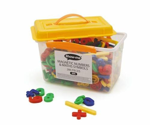 Tub of 286 magnetic maths symbols and numbers