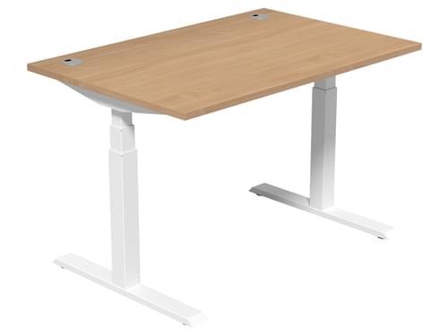 Electric Height Adjustable Desk 1200 * 800 mm Beech Top White Legs