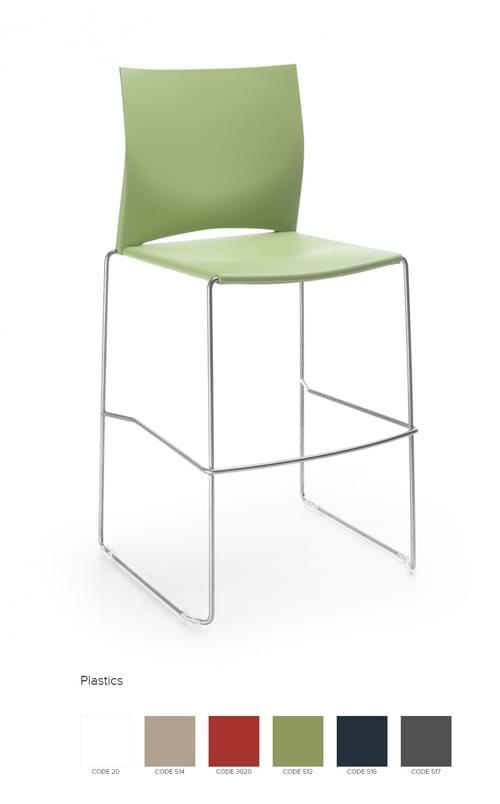 Ariz Plastic Seat and Backrest Stool - Model 550CV Silver legs