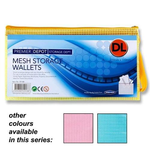DL+ Mesh Zip Wallets assorted Colours