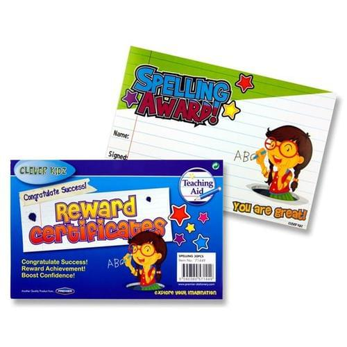 REWARD CERTIFICATES - SPELLING AWARD (Pack of 30)