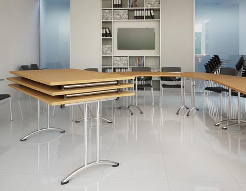 Folding Table Rectangular Chrome Legs W1500xD750xH725mm Beech