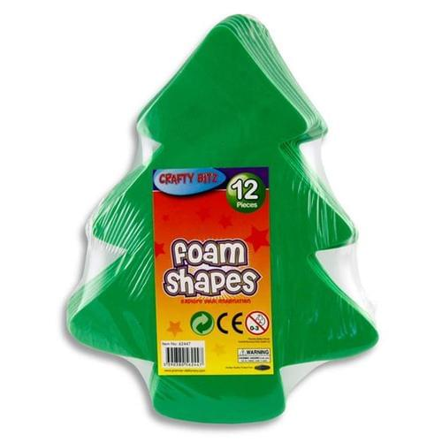 FOAM SHAPES - XMAS TREES (pack of 12)