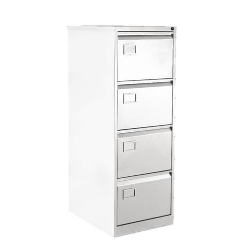 Bisley 4 Drawer Lockable Metal Filing Cabinet Chalk White