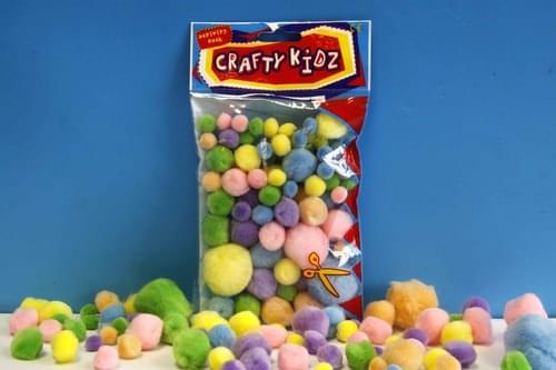 Crafty Kidz - Pastel Pom Poms (Pack of 70)