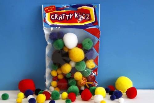 Crafty Kidz - Pom Poms - Vivid Colours (Pack of 70)