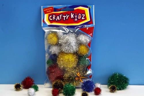 Crafty Kidz - Glitter Pom Poms (Pack of 30)
