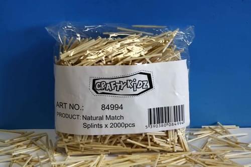 Crafty Kidz - Match Splints Natural 2000 pk