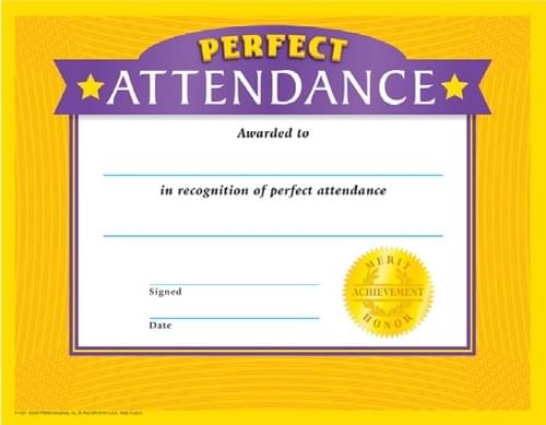 Colourful Classic Certificates - Perfect Attendance