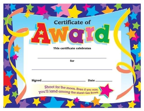 Colourful Classic Certificates - Certificate of Award