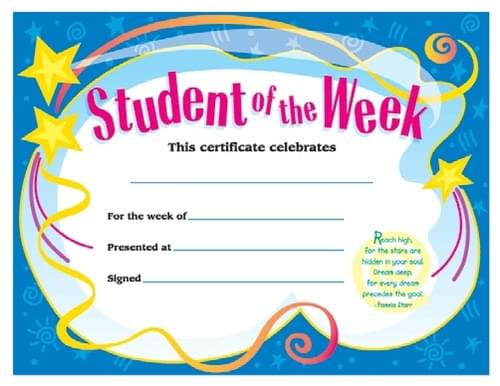Colourful Classic Certificates - Student of the Week