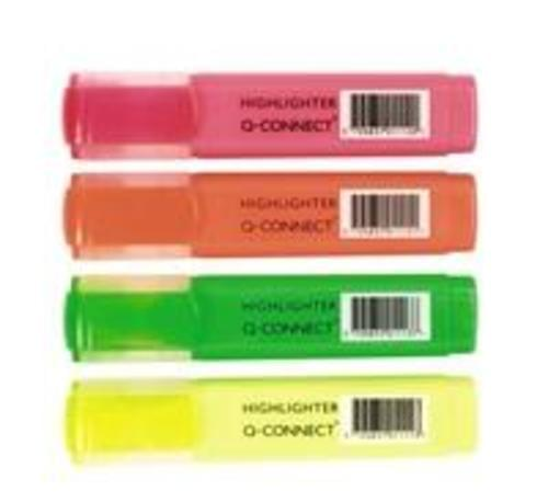 Q-Connect Highlighter Assorted Wallet (Pack of 4)