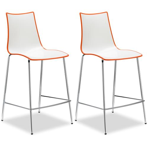 Zebra Bicolore Bar Stool With H650mm Chrome Base White/Orange (Set of 2 Stools)