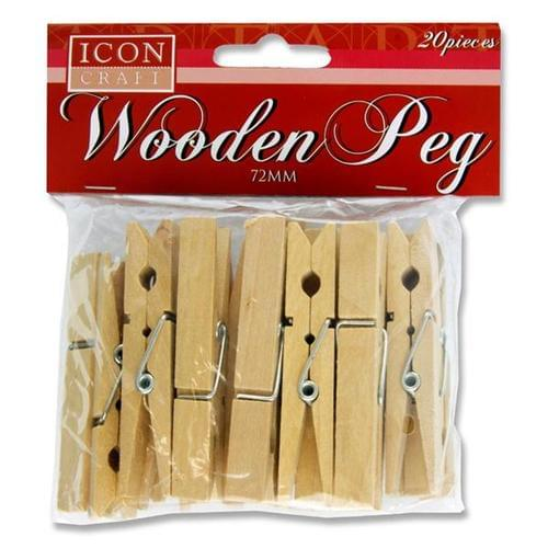 72mm WOODEN PEGS - Pack of 20