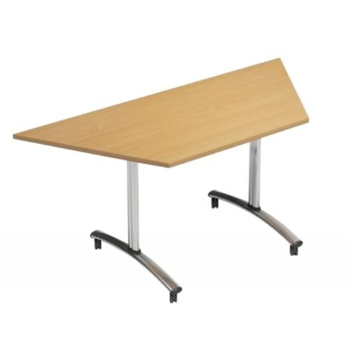 1500mm Trapezoidal Flip Top Table On Wheels Beech Morph Tilt