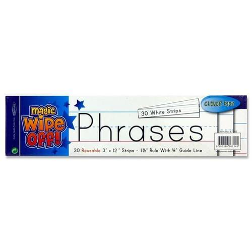 "WIPE-OFF REUSABLE PHRASE STRIPS 3""x12"" - WHITE (Pack of 30)"