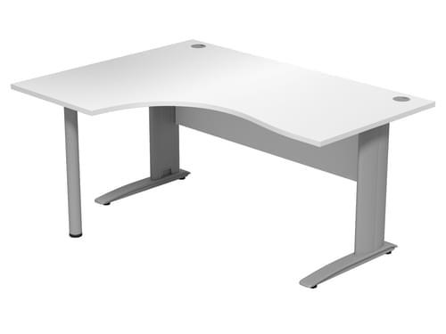 Komo 1600mm Left hand radial desk Cantilever Legs White