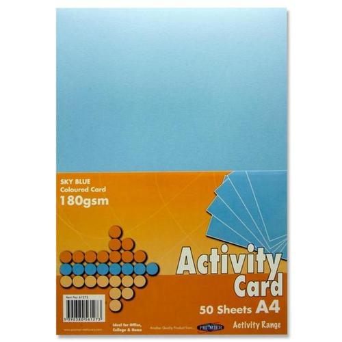 A4 180gsm ACTIVITY CARD 50 SHEETS - SKY BLUE
