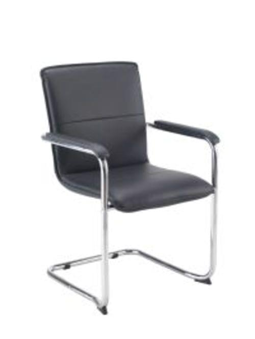 PAVIA VISITOR CHAIR Cantilever Legs Leather Look Black