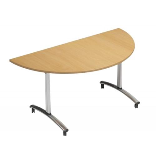 1500mm Semi Circular Flip Top Table On Wheels Beech Morph Tilt